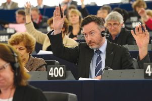 Smith participates in a vote in Strasbourg. Picture: Christian Creutz