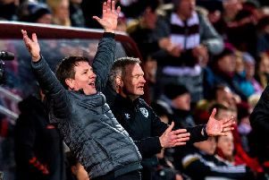 Daniel Stendel celebrates as Hearts beat Rangers - his first league win since taking over at Tynecastle