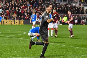 Bottom of the table Hearts defeated title challengers Rangers on Sunday. Picture: SNS