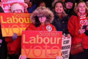 Scottish Labour supporters wait for Jeremy Corbyn to address a pre-election rally in Govan. The party lost all but one of its MPs in Scotland. Picture: PA