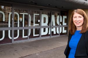 Criton chief executive Julie Grieve outside the traveltech's Edinburgh office at Codebase. Picture: Alan Rennie