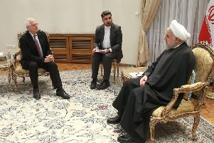 Iranian President Hassan Rouhani meets Josep Borrell, the European Union's  High Representative for Foreign Affairs and Security Policy, on Monday (Picture: Iranian Presidency/AFP via Getty Images)