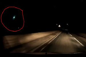 """Matt Perry, from Fife, saw the """"burning light"""" south of Boarhills in Fife while he was driving along theA917 at about 11pm on Monday   picture: Matt Perry"""