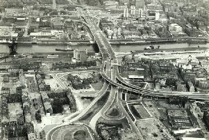 The M8 Kingston Bridge a month before its opening in June 1970. Picture: Glasgow Motorway Archive