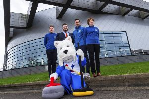 From left, Andrew Cromar, Councillor David McDonald, British national coach David Murdoch, Alison Barr and Sweep the Mascot at the Emirates Arena to launch the the LGT World Men's Curling Championship 2020. Picture: Bill Murray/SNS