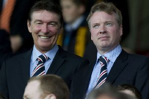Craig Whyte with then Rangers director of football Gordon Smith at Fir Park in 2011. Picture: SNS