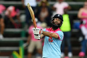 Moeen Ali hits the winning runs for England in the third and final ODI in Johannesburg. Picture: Dan Mullan/Getty Images