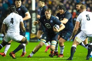 Jonny Gray in action for Scotland against England