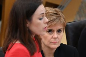 Kate Forbes presents the Government's plans for the Scottish Budget as Nicola Sturgeon looks on (Picture: Andy Buchanan/AFP via Getty Images)