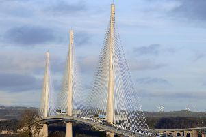 Eight drivers reported damage to their vehicles after ice fell from the Queensferry Crossing's cable stays (Picture: Lisa Ferguson)