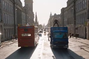 Waterloo Place was one of the major thoroughfares closed to traffic to allow stunts to be filmed.