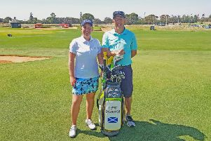 Gemma Dryburgh and caddie Paul Heselden are all set for this week's ISPS Handa Women's Australian Open in Adelaide