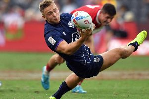 Harvey Elms of Scotland in action during a Sydney Sevens play-off clash with Wales