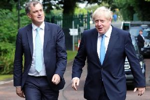 Former Northern Ireland Secretary Julian Smith with Prime Minister Boris Johnson