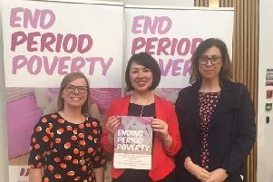Monica Lennon MSP (centre) is campaigning to end period poverty.