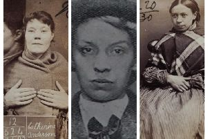 Catherine Anderson, who killed her child in Aberdeen (left), fugitive Lily Hart,  a brothel keeper wanted for faking coins (centre), and Jane Wotherspoon, a forger (right).