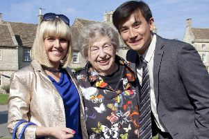 Marion Chesney (M C Beaton) on the set of Agatha Raisin with Ashley Jensen and Matt McCooey (Picture: MC Beaton/Twitter)