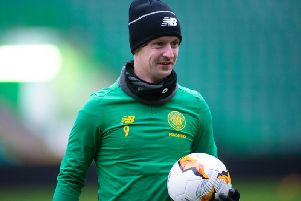 Leigh Griffiths trained at Celtic Park on Wednesday but did not travel to Denmark with the rest of the squad. Picture: SNS