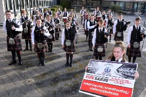 North Lanarkshire Schools' Pipe Band pictured ahead of their trip to New York for Tartan Week