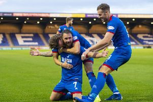 James Keatings celebrates scoring for Inverness Caledonian Thistle as he bids to help his fourth different club win promotion back to the Premiership. Picture: SNS.