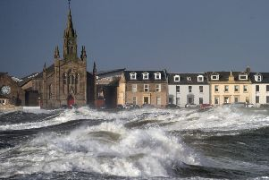 Winds batter the Ayrshire coast at Ardrossan. Picture: Andrew Milligan/PA