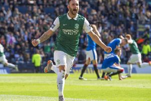 James Keatings goes his own way to celebrate David Gray's winning goal for Hibs in the 2016 Scottish Cup final. Picture: Craig Williamson/SNS