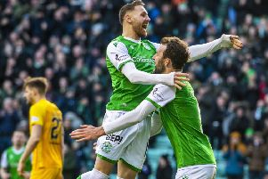 Christian Doidge, right, celebrates his goal with Martin Boyle. Picture: Alan Harvey / SNS