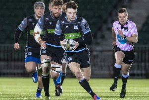 Jamie Dobie makes a break during  Glasgow Warriors' victory over Dragons. Picture: SNS/SRU.