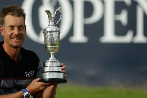 Henrik Stenson shows off the Claret Jug after his win at Royal Troon in 2016. Picture: Getty Images