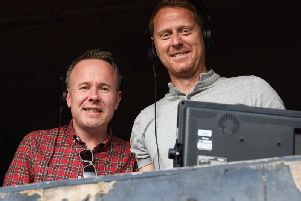 Michael Stewart, right, working for BBC Scotland alongside commentator Liam McLeod. Picture: SNS