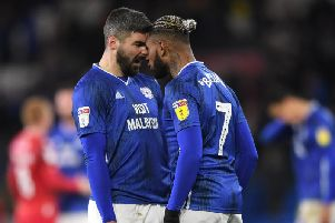 Callum Paterson (left) clashes with Cardiff City team-mate Leandro Bacuna after the Bluebirds' 1-0 home defeat to Nottingham Forest