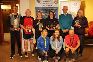 The group of winners at the event on the night, with Kenneth Ovens the chairperson of the Scottish Association  of Local Sports Councils, who presented the prizes.