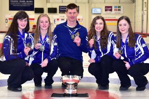 Scottish Junior Curling champions Team Davie. Second right is Anna Skuse, fron Linlithgow
