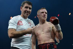 Stephen Tiffney poses with his trainer after beating Arturo Lopez of Mexico in a Super Featherweight�bout during the Ali Trophy Quarter-Finals - World Boxing Super Series Fight Night at The SSE Hydro on November 3, 2018 (Photo by Mark Runnacles/Getty Images)