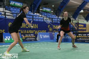 Sarah Sidebottom (right) is pictured in doubles action with her badminton partner Lauren Middleton