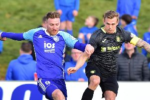 SCOTTISH LEAGUE 2'PETERHEAD VALBION ROVERS'(DUNCAN BROWN)''PETERHEAD'S RORY MCALLISTER AND GARY PHILLIPS CLASH