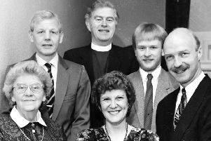 Award winner...Joy Macintyre (centre) receives the Whitbread award from George Swanson (right) with (l-r) Isa Morrison, Hamish Macintyre, Rev Paterson and Ross Macintyre joining the celebrations back in 1989.