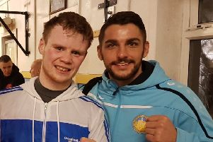 Kirkintilloch boxer Ally Black (right) with fellow pro Charlie Flynn