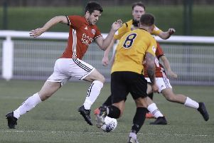 Gala Fairydean Rovers, in red,  on the attack (picture by Brian Sutherland).
