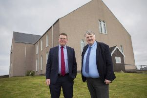 David Murray, left, and Donald Macleod, who will be digitising the recordings, at Garrabost Free Church. ''Picture by Sandie Maciver of SandiePhotos