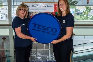 Tesco community champions Liz Jones and Gemma Morrison promote the Bags of Help funding giveaway for charities