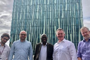 Colin Clark (second right) is pictured with Aberdeen University academics Dr Alfonso Martinez-Felipe, Dr David Vega-Maza, Prof. Alfred Akisany andDr John Paterson
