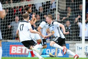 20-07-2019. Picture Michael Gillen. AYR. Somerset Park. Ayr Utd v Falkirk FC. The Scottish League Cup, SPFL Betfred Cup 2019 - 2020, Group G. Andy Geggan 6 scores second goal for Ayr.
