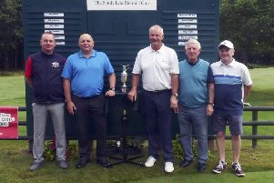 Falkirk golfers Bobby Bain, Andy Lapsley, & guests Jim Simpson & Robin Hulett.with Sandy Lyle at the Sandy Lyle Biennial Cup to raise more for brain tumour charity. The Falkirk team won it.