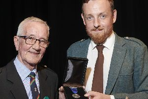 James Mackenzie with Pipe Major Iain Murdo Morrison.  Picture courtesy of the Northern Meeting organising committee.