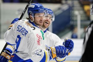 Chase Schaber celebrates after firing Fife Flyers into the lead in Coventry. Pic: Scott Wiggins