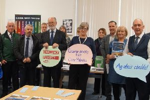 Pictured is the Outer Hebrides Anti Poverty Strategy launch with representatives of the Comhairle, NHS Western Isles and the Third Sector who are partners in the plan.