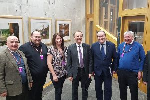 Pictured at the meeting are: Councillor Donald Manford, Brian Currie, Theresa Irving, Alasdair Allan MSP, Paul Wheelhouse MSP and Donald Joseph Maclean.