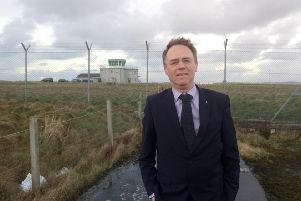 Western Isles MSP Alasdair Allan at Benbecula airport following his meeting with local air traffic control officers. He has written to HIAL and the Scottish Government to highlight their and his concerns about remote towers and centralising jobs to Inverness.