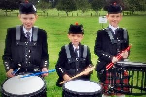 Selkirk Pipe Band drummers Hamish Scott, Cameron Taylor and Cameron Smith.
